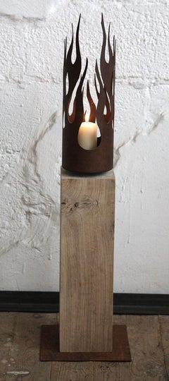 "Unique Candle Holder - ""Flames"" on a natural oak pedestal - Medium Height"