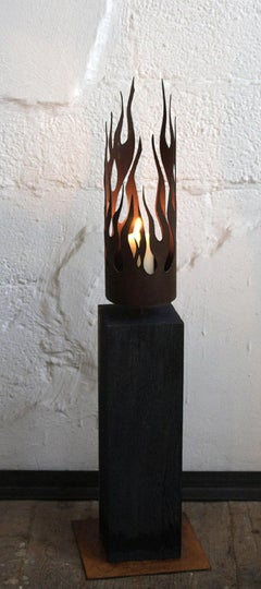 "Unique Candle Holder - ""Flames"" on a oxidised oak pedestal - Medium Height"