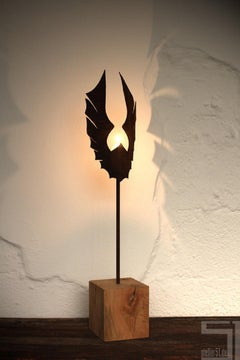 "Unique Candle Holder - ""Wings Dark"" on a natural oak pedestal - Small Height"