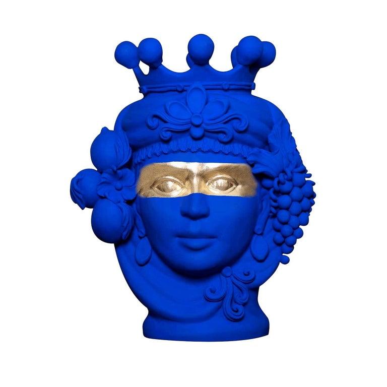 Stefania Boemi Terracotta Vase, Donna Yves Klein Blue, Made in Italy For Sale