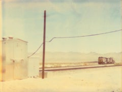 Approaching Train (Wastelands) - Contemporary, Landscape, Polaroid, 21st Century