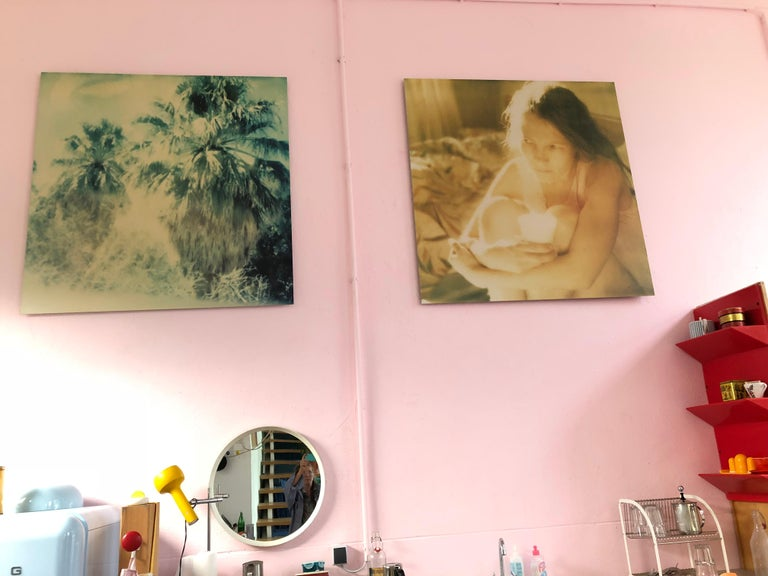 Blue Sky Palm Trees, Contemporary, 21st Century, Polaroid, Landscape Photography - Brown Color Photograph by Stefanie Schneider