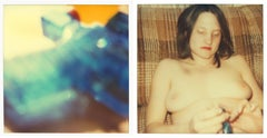 Blue Water Pistol - Contemporary, Nude, Women, Polaroid, 21st Century, Blue