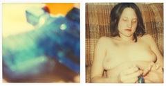 Blue Water Pistol - Contemporary, Nude, Women, Polaroid, 21st Century, Blue