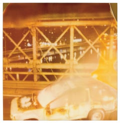 Burning Car (Stay) 20x20cm - 21st Century, Polaroid, Contemporary, Color