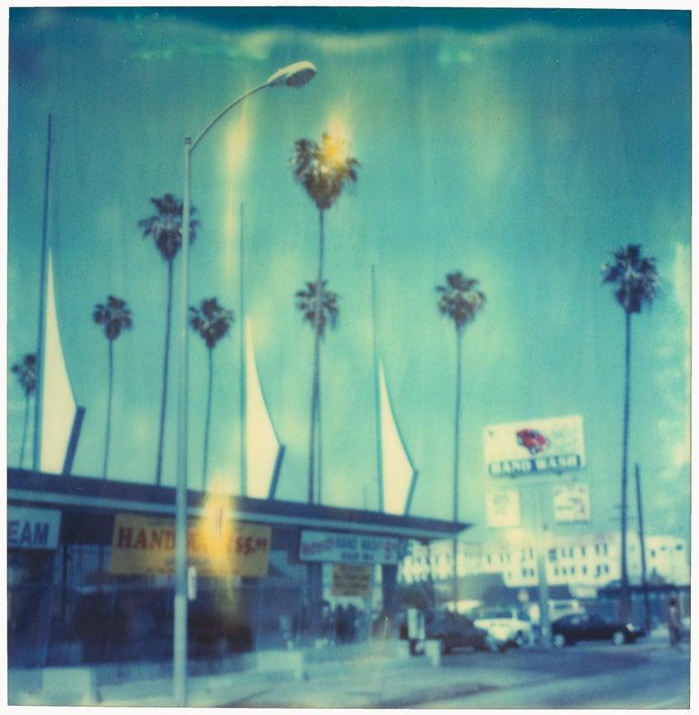 Stefanie Schneider Figurative Photograph - Carwash - Contemporary, Landscape, Cityscape, expired, Polaroid, analog, Blue