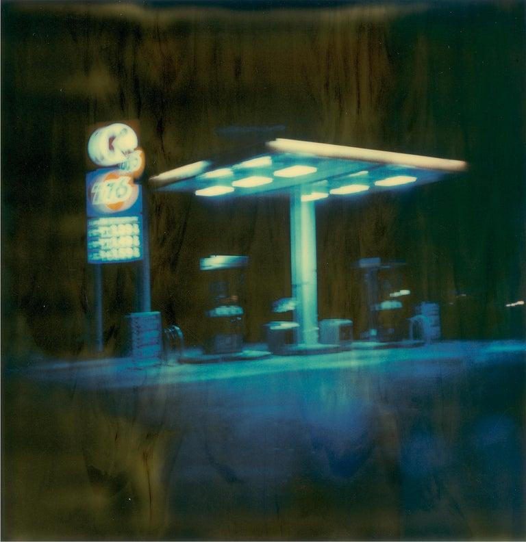 Stefanie Schneider Landscape Photograph - Gasstation at Night II  (Stranger than Paradise) - Contemporary, Polaroid, Color
