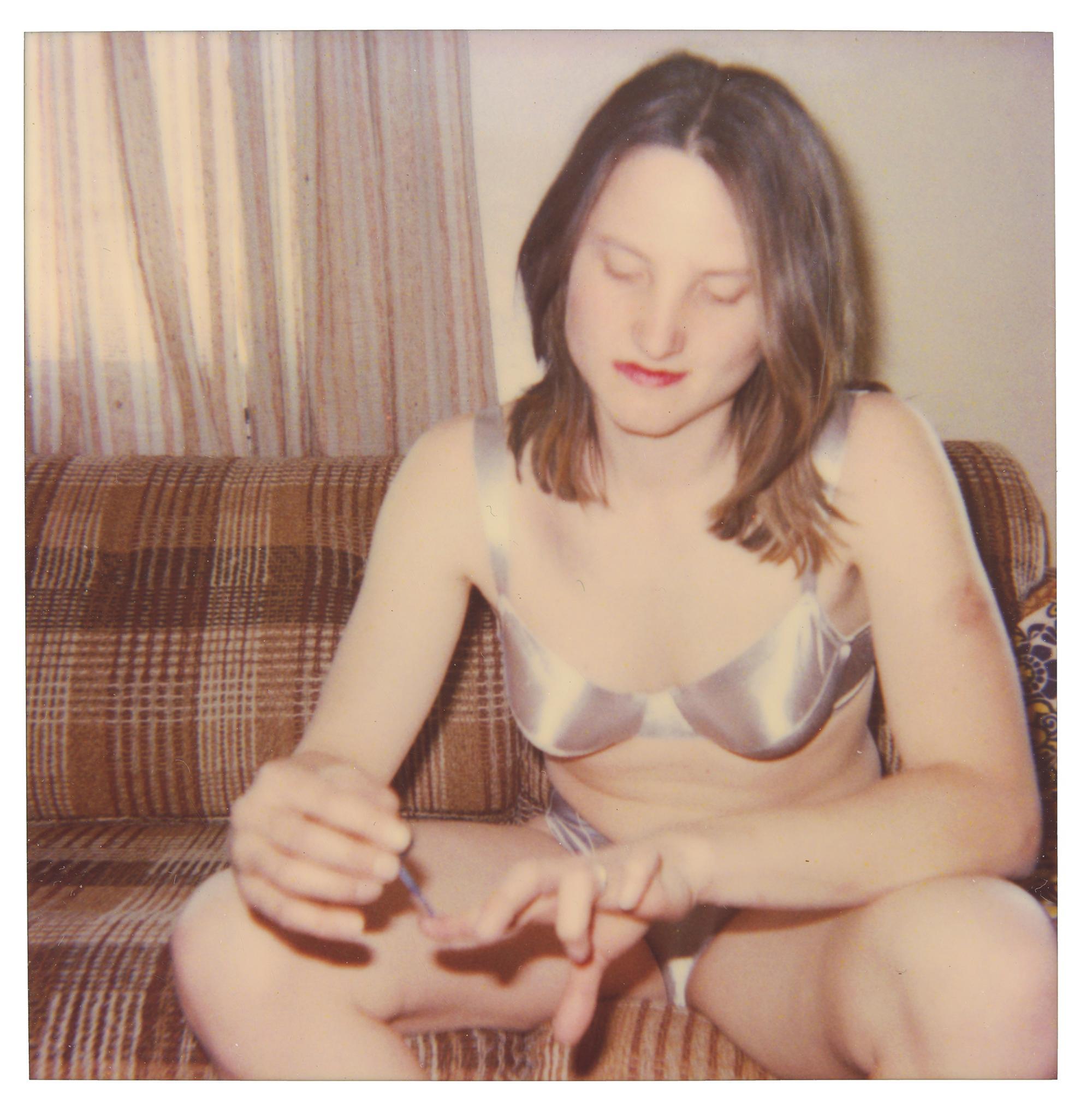 Kirsten doing her Nails (50x50cm) - Figurative, Portrait, Polaroid, Photograph