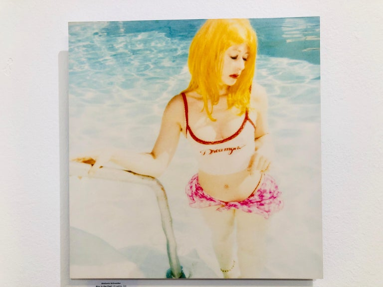 Max in Pool - Contemporary, Landscape, Figurative, expired, Polaroid, analog - Beige Color Photograph by Stefanie Schneider