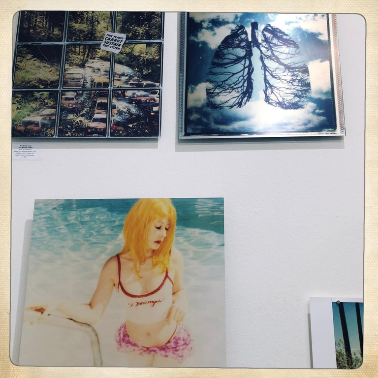 Max in Pool - Contemporary, Landscape, Figurative, expired, Polaroid, analog For Sale 1