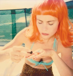 Radha doing her Nails by the Pool (29 Palms, CA) - Contemporary, Polaroid, Women