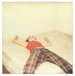 Stefanie on bed looking quite dead (29 Palms, CA) - Analog, Polaroid, mounted