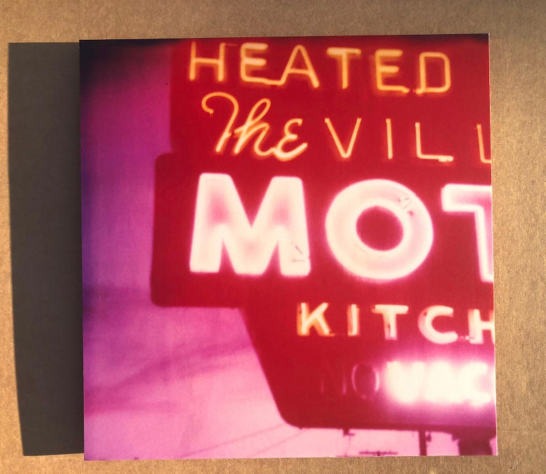 The Village Motel Sunset (The Last Picture Show), analog, mounted - Photograph by Stefanie Schneider