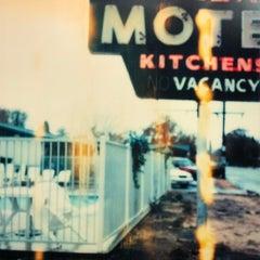 Village Motel - mounted- Contemporary, Landscape, expired, Polaroid, analog