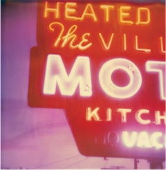 Village Motel Sunset - Contemporary, 21st Century, Polaroid, Figurative Photo