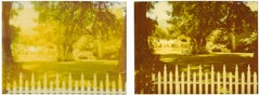 White Picket Fence (Suburbia), diptych, analog, mounted, Polaroid, Photograph