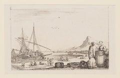 Harbor - Original Etching by Stefano Della Bella - 17th Century