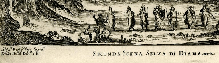 Scene II, Le Nozze Degli Dei Etching, 1637 Signed in the plate lower left The scene depicts the initial moment when Diana is revealed, surrounded by her nymphs, celebrating a successful stag hunt. From: The Wedding of the Gods (Le Nozze Degli Dei),