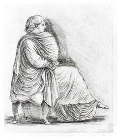 Seated Woman in Profile - Original Etching by S. Della Bella - 1660