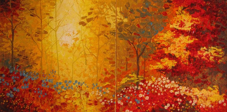 Stefano Georges Abstract Painting - Autumn 2 Diptych