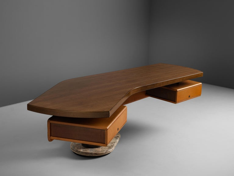 Mid-20th Century Stefano Mastuzzi Boomerang Desk 'Zero' in Walnut
