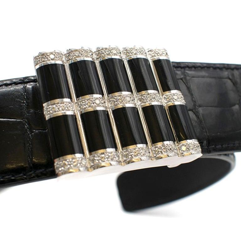 Stefano Ricci Black Crocodile & Diamond Belt In Good Condition For Sale In London, GB