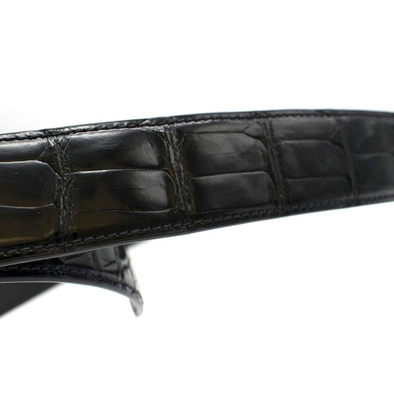Women's or Men's Stefano Ricci Black Crocodile & Diamond Belt For Sale