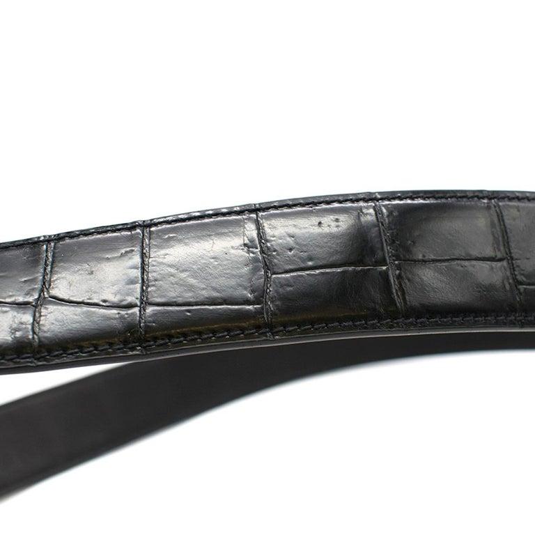 Stefano Ricci Black Crocodile & Diamond Belt For Sale 3