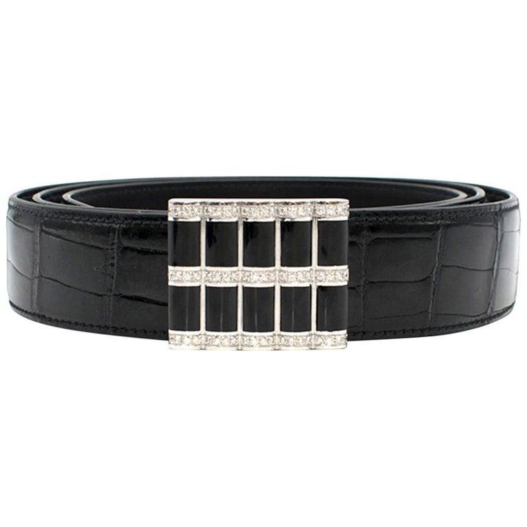 Stefano Ricci Black Crocodile & Diamond Belt For Sale