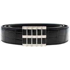 Stefano Ricci Black Crocodile & Diamond Belt