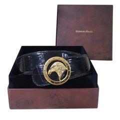 Stefano Ricci black round golden tone eagle buckle belt