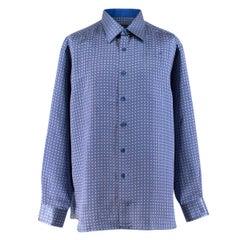 Stefano Ricci Blue Print Silk Shirt XXL