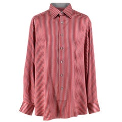 Stefano Ricci For Saint-Phil Red and Grey Striped Silk Shirt XL