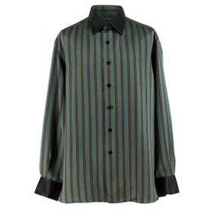 Stefano Ricci Green Multi Striped Silk Shirt XL