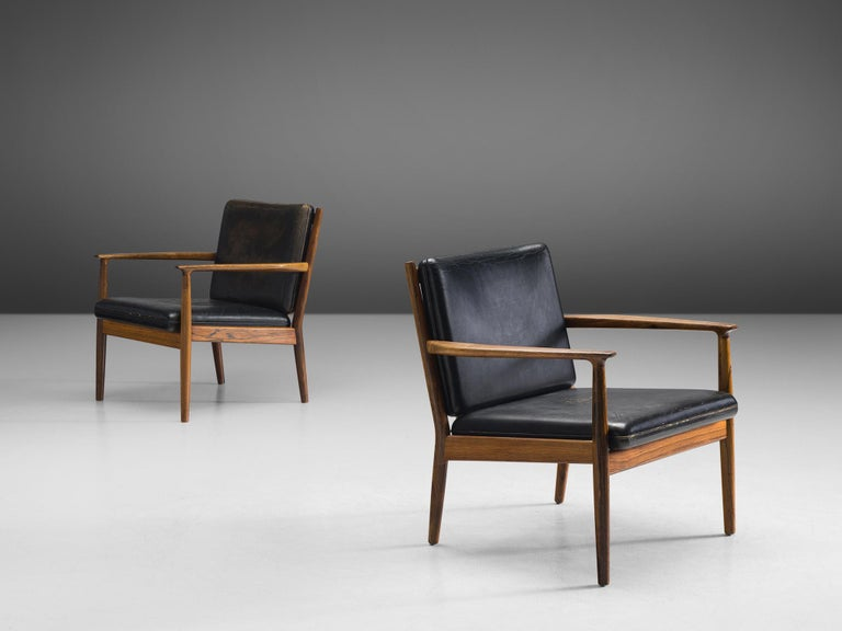 Scandinavian Modern Steffen Syrach Larsen Pair of Easy Chairs in Rosewood and Black Leather For Sale
