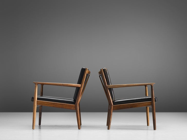 Danish Steffen Syrach Larsen Pair of Easy Chairs in Rosewood and Black Leather For Sale