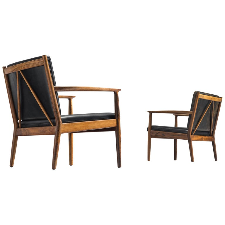 Steffen Syrach Larsen Pair of Easy Chairs in Rosewood and Black Leather For Sale