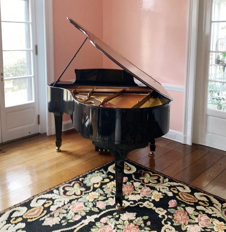 Art Deco Steinway Baby Grand Piano with Matching Tufted Leather Stool