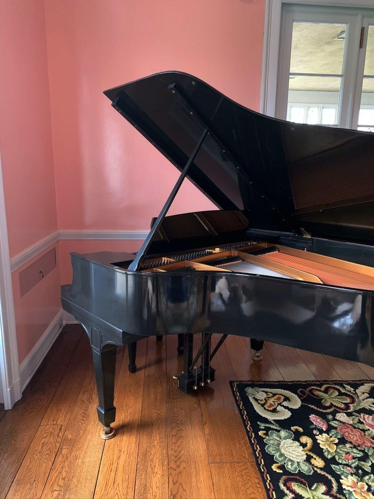 American Steinway Baby Grand Piano with Matching Tufted Leather Stool