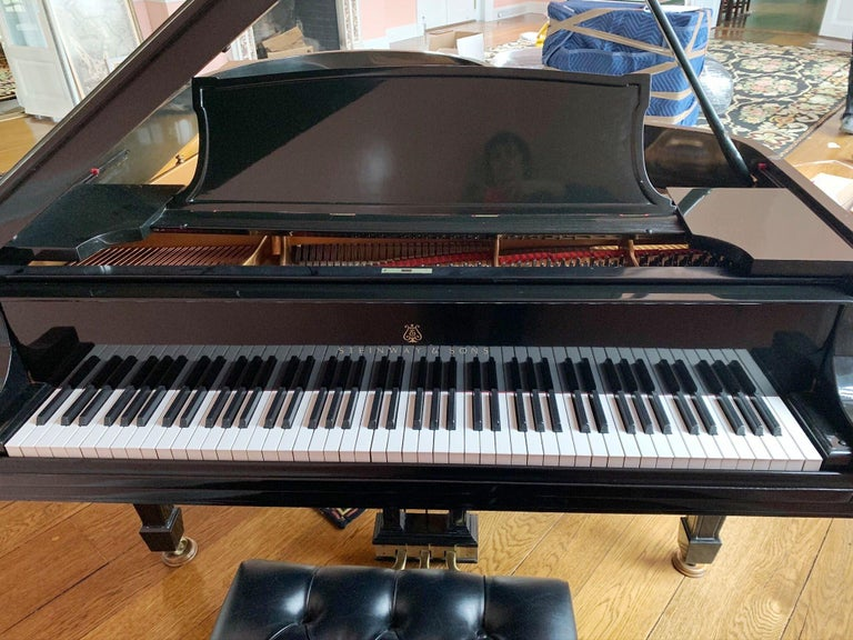 Lacquered Steinway Baby Grand Piano with Matching Tufted Leather Stool