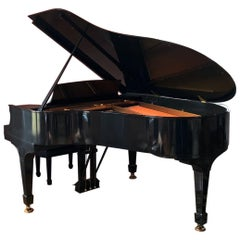 Steinway Baby Grand Piano with Matching Tufted Leather Stool