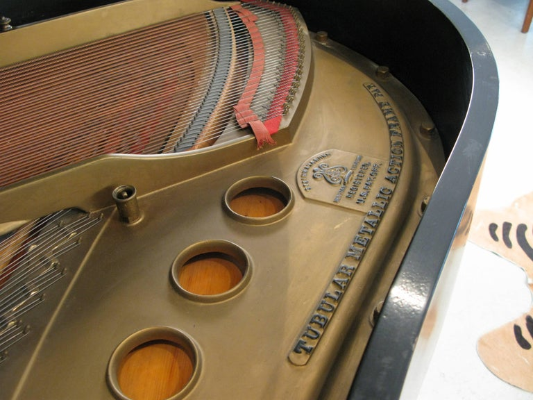 Steinway & Sons 1912 Model M Ebony Piano In Good Condition For Sale In Hudson, NY