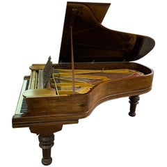 Steinway & Sons Model C German Concert Grand Piano Roseweood Case Turned Legs