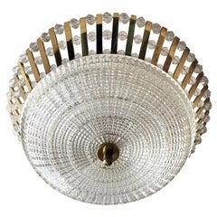 Stejnar Austrian Crystal 1950s Flush Light Pendant