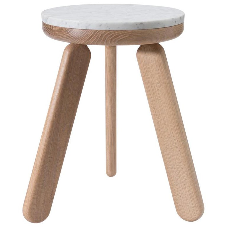 Stele 1 Contemporary Handmade Side Table in Carrara Marble and Oak by Pat Kim For Sale