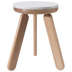 Stele 1 Contemporary Handmade Side Table in Carrara Marble and Oak by Pat Kim