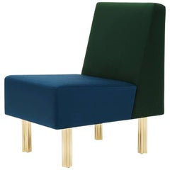 'Stella' Armchair / Fireside Chair 'Art Deco Style' Green and Blue Wool