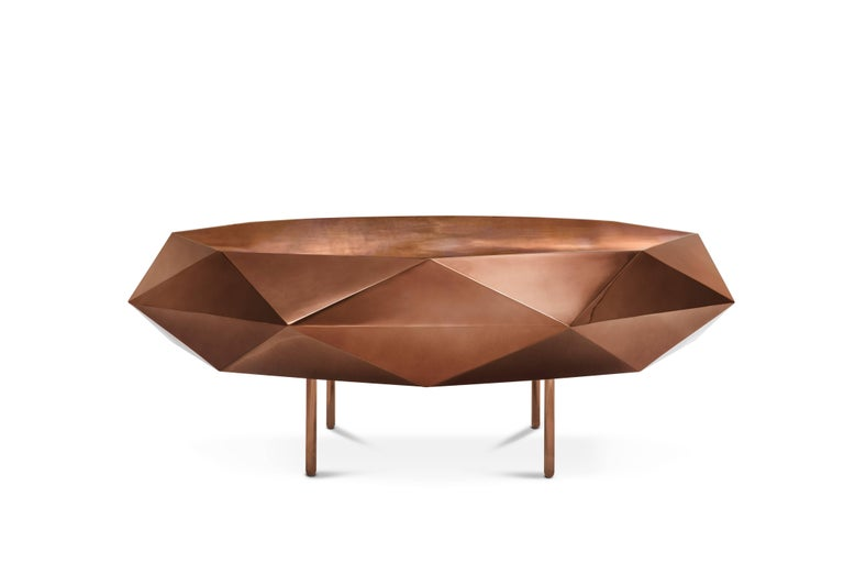 Stella coffee table Large rose is rose, circular with a starry edge, delightful in any interior space. The table is from the 88 secrets collection designed by Nika Zupanc for Scarlet Splendour.  Material: Metal with gloss finish.