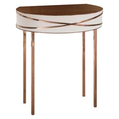 Stella Gray Console or Bedside Table with Rose Gold Trims by Nika Zupanc