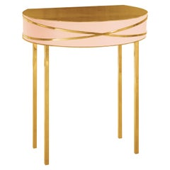 Stella Pink Console or Bedside Table with Gold Trims by Nika Zupanc
